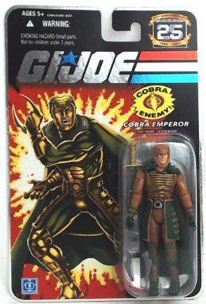 Gi Joe 25th Silver Logo Serpentor 3 3//4 Action Figure Package