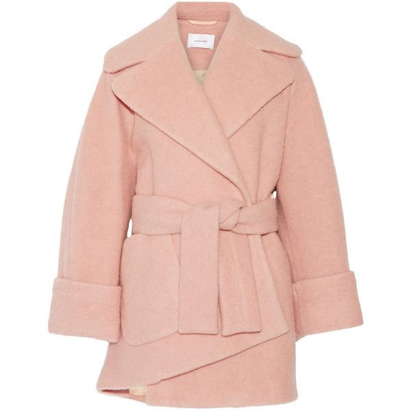 Carven Oversized boiled wool-blend coat (€835) ❤ liked on Polyvore featuring outerwear, coats, jackets, carven, pink, oversized lapel coat, pastel pink coat, pastel coat, pink double breasted coat and lapel coat