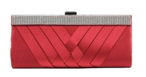 Scarleton Woven Satin Clutch with Crystals H3060 by The Leather Handbags