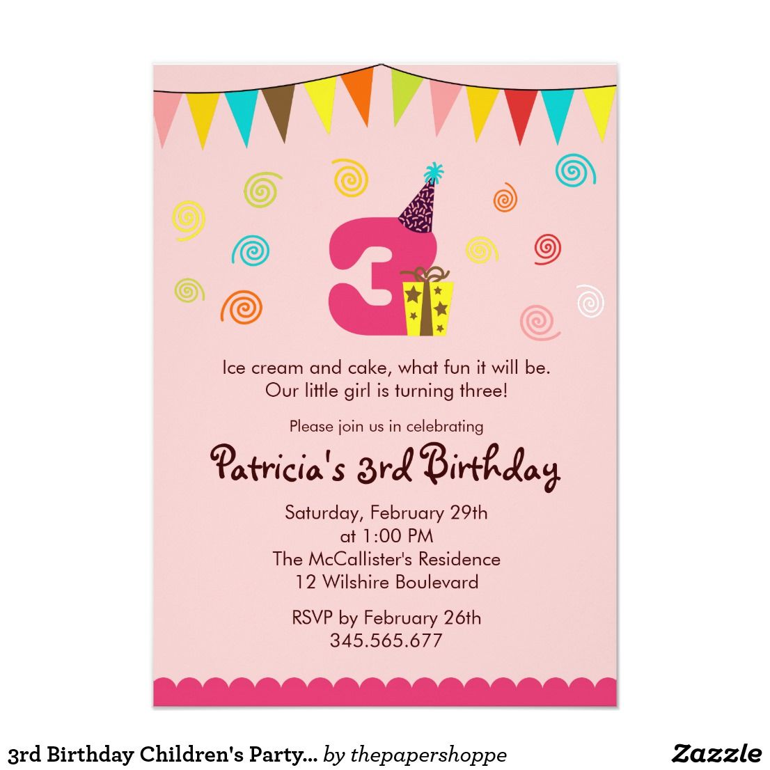 3rd Birthday Childrens Party Invitation Angel S