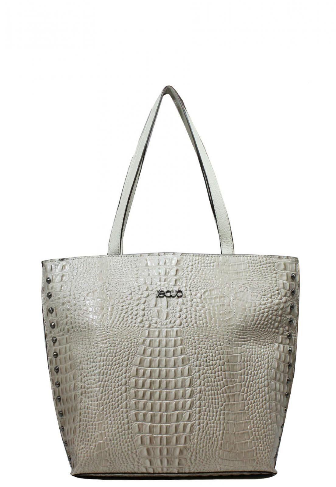 Bolsa de Couro Recuo Fashion Bag Tote Cru/Cacau