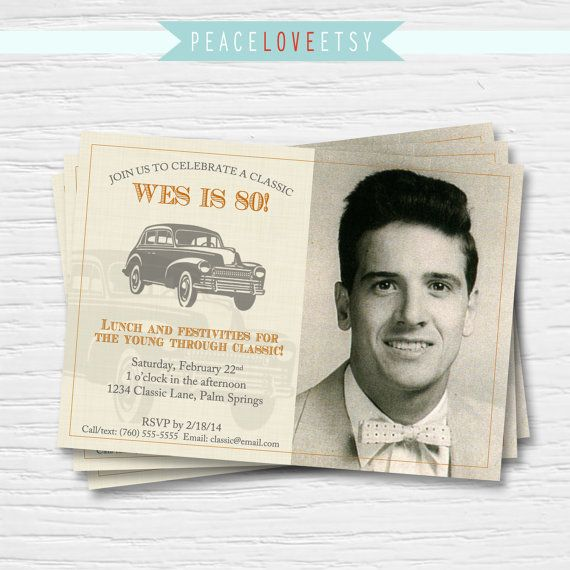 Classic Car Birthday Invitation 40th 50th 60th By PeaceLoveEtsy 995