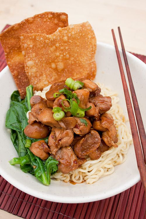 Mie Ayam Jamur (Indonesian Chicken Mushroom Noodle) {Via Flaming Pot}