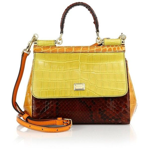 Dolce & Gabbana Sicily Small Multicolor Crocodile, Python & Leather... (14.565 BRL) ❤ liked on Polyvore featuring bags, handbags, apparel & accessories, satchel purse, snakeskin purse, yellow leather handbag, croc embossed leather handbags and dolce gabbana handbag