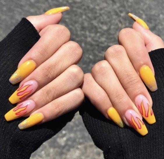 Pin By Claudia Brito On Nogti In 2020 Yellow Nails Design Yellow Nails Flame Nail Art