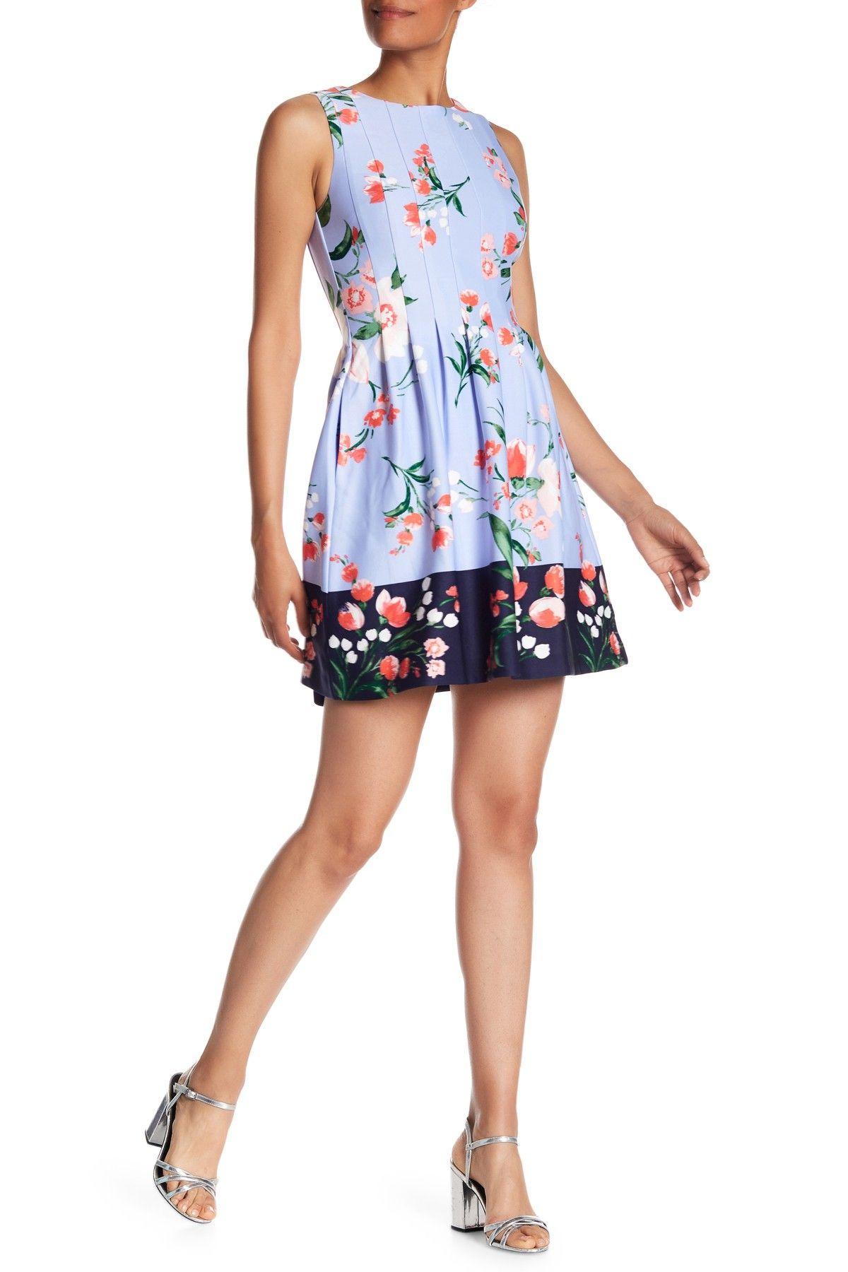 Floral Print Scuba Fit Flare Dress Fit Flare Dress Dresses Fit Flare [ 1800 x 1200 Pixel ]