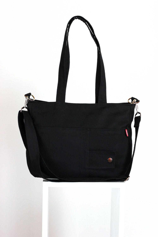 8f668ea610 Black Bag Washable Durable Shoulder Bag Crossbody Bag Removable Strap  Double Strap Zipper Closed Canvas %100 Cotton Handmade Vegan Bag Lined by  hippirhino ...