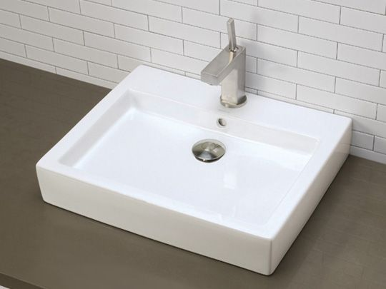 Rectangular Vitreous China Vessel Sink With Overflow Ceramic White