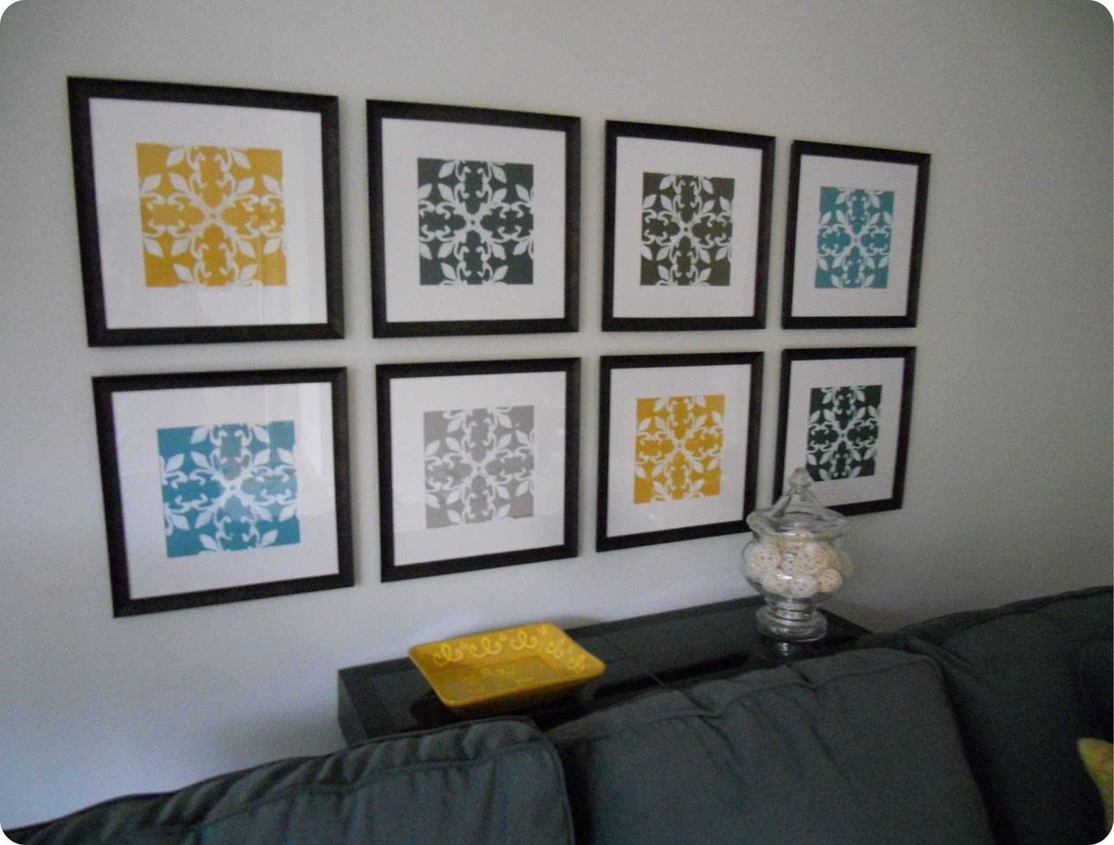 Scrapbook ideas cheap - Gallery Wall Made From Inexpensive Frames Scrapbook Paper Stencil And Acrylic Paint