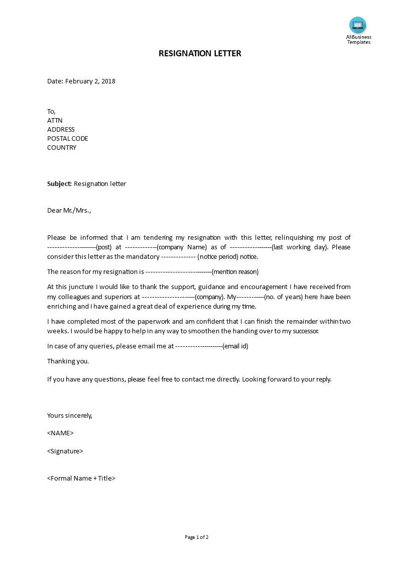 Resignation Letter  How To Write A Proper Resignation Letter Do