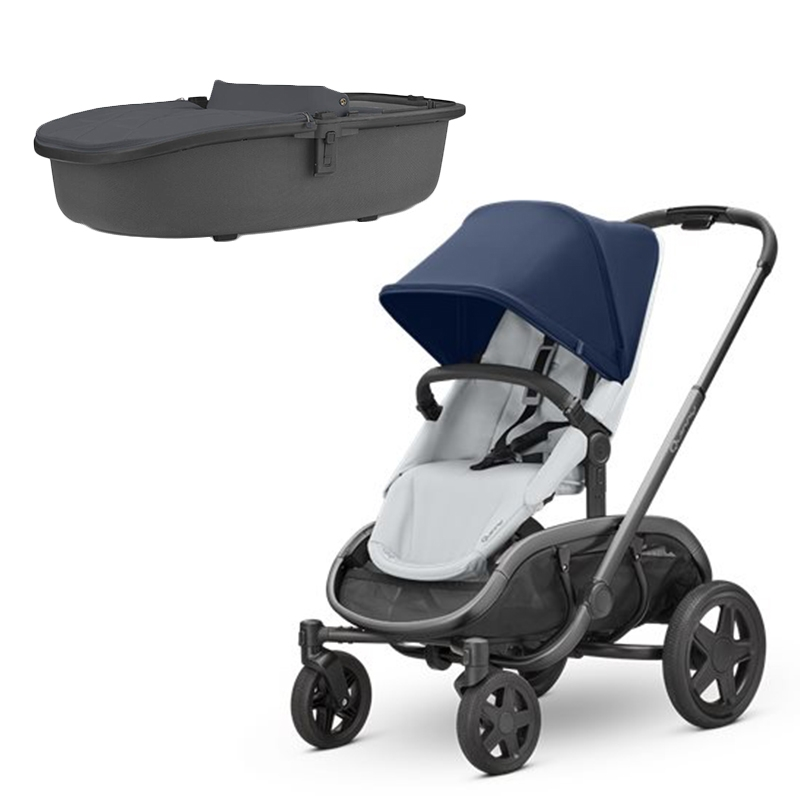 Quinny Hubb Stroller and Hux Carrycot Navy on Grey