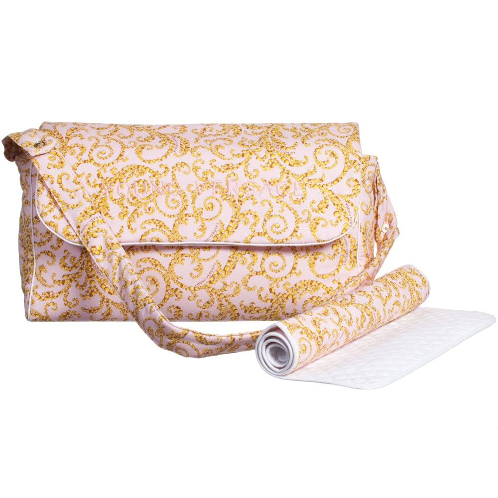 a2b0b91e6d Young Versace Pink & Gold Baroque Baby Changing Bag (45cm) at  Childrensalon.com