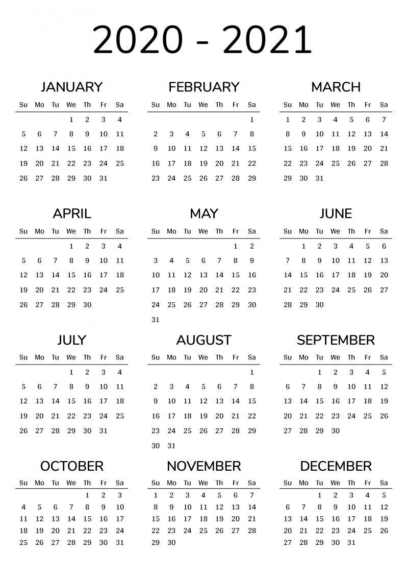 Year Long Calendar 2021 Print 2 Year Calendar | Calendar printables, Calendar template