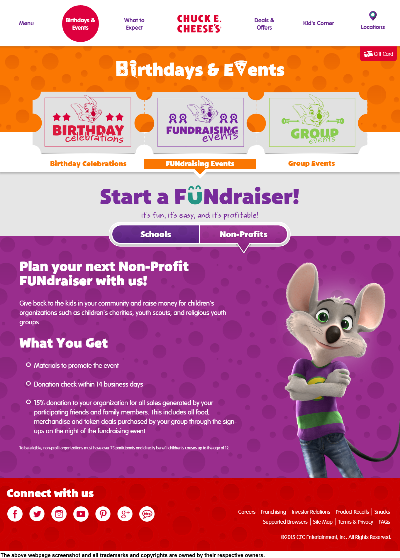 Chuck E CheeseS Donation Info And Form HttpsWwwChuckecheese