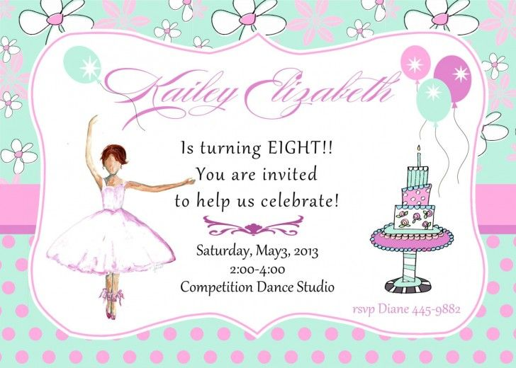 Lovely dancing girl images style 8th birthday party invitation with lovely dancing girl images style 8th birthday party invitation with flower and polkadot pink also sky filmwisefo