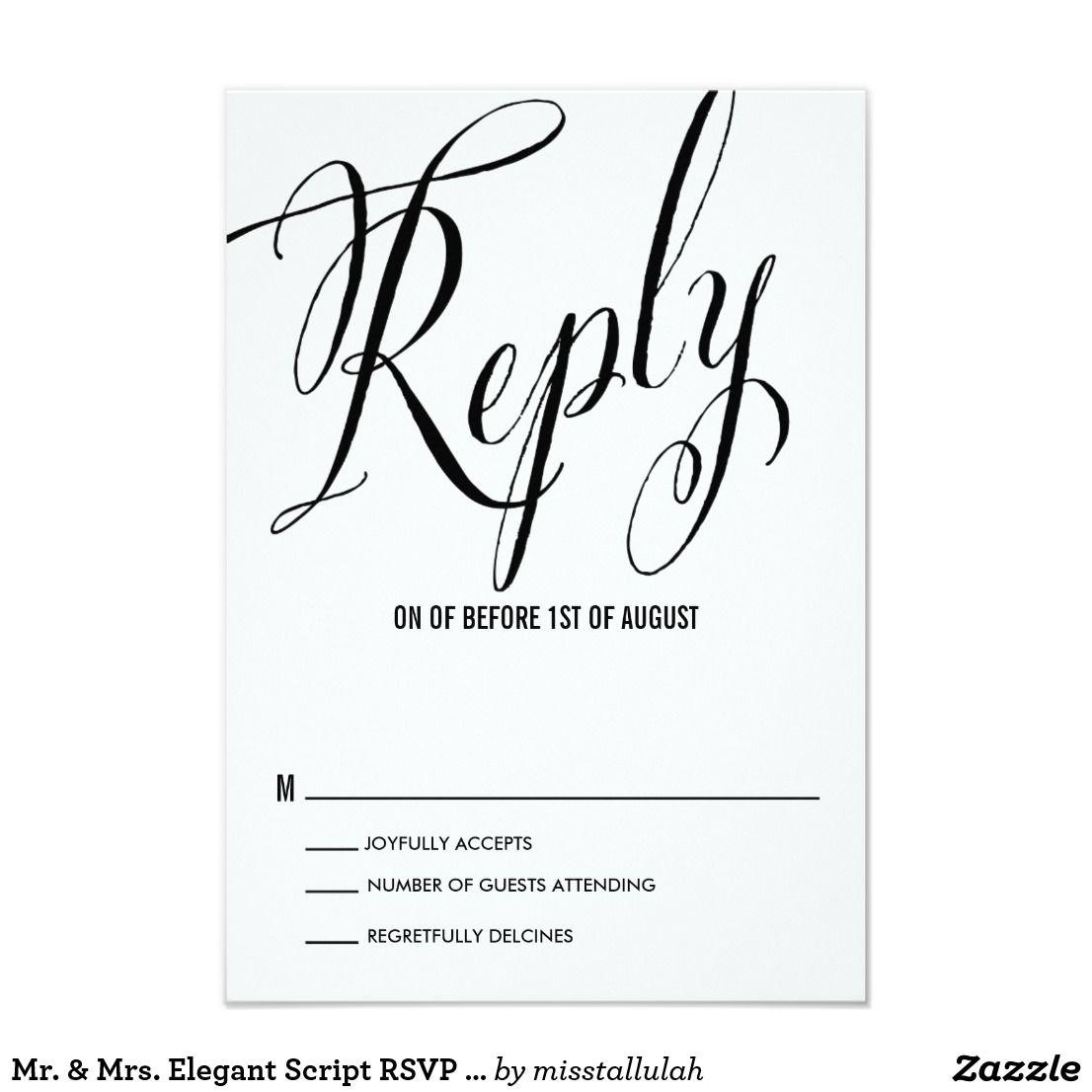 Mr. & Mrs. Elegant Script RSVP | Check Spelling