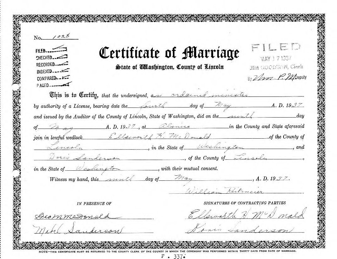Washington State Birth Certificate Certified Copy Of