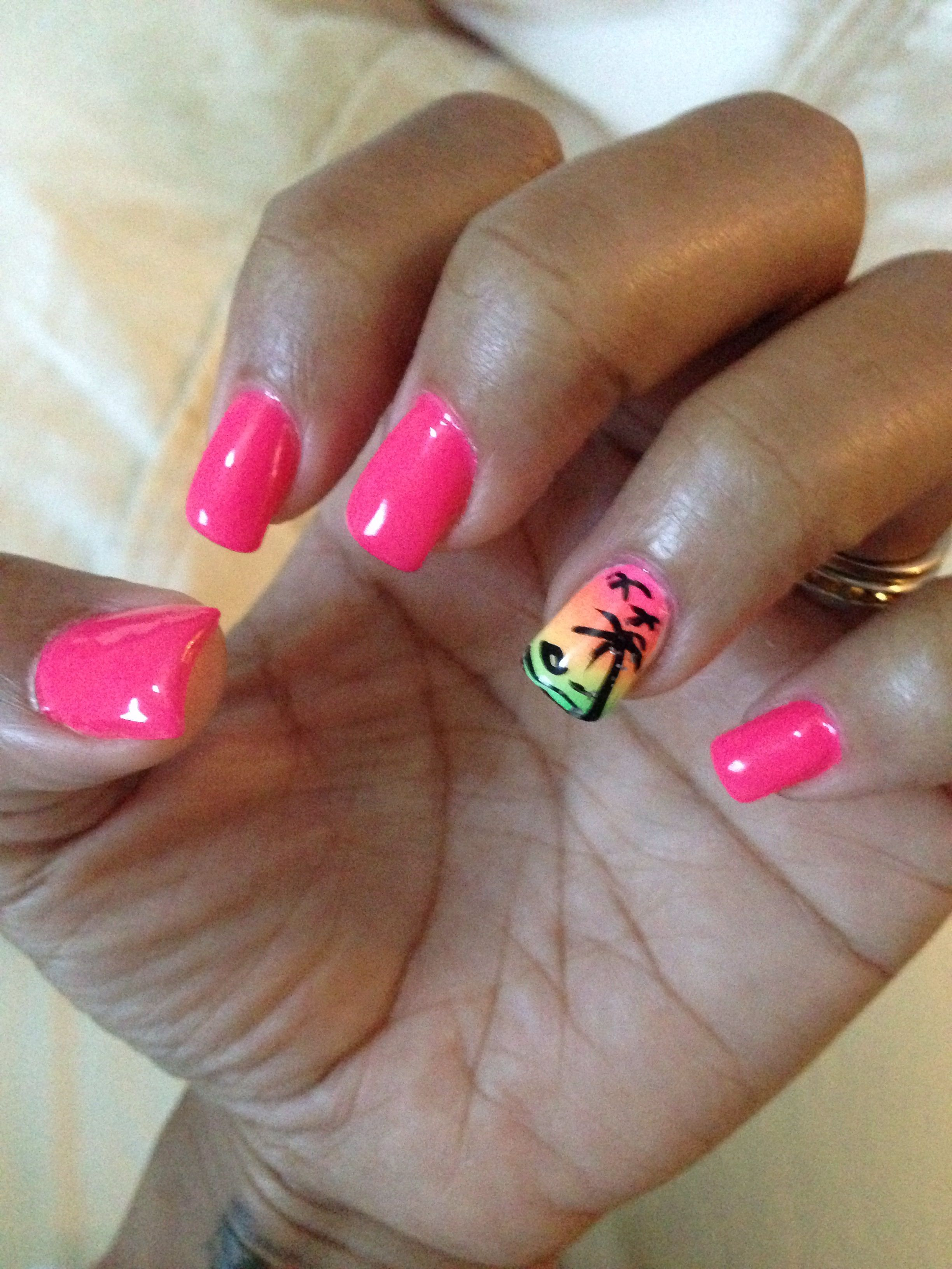 Nails For My Cruise To The Bahamas. The Pink Color Is