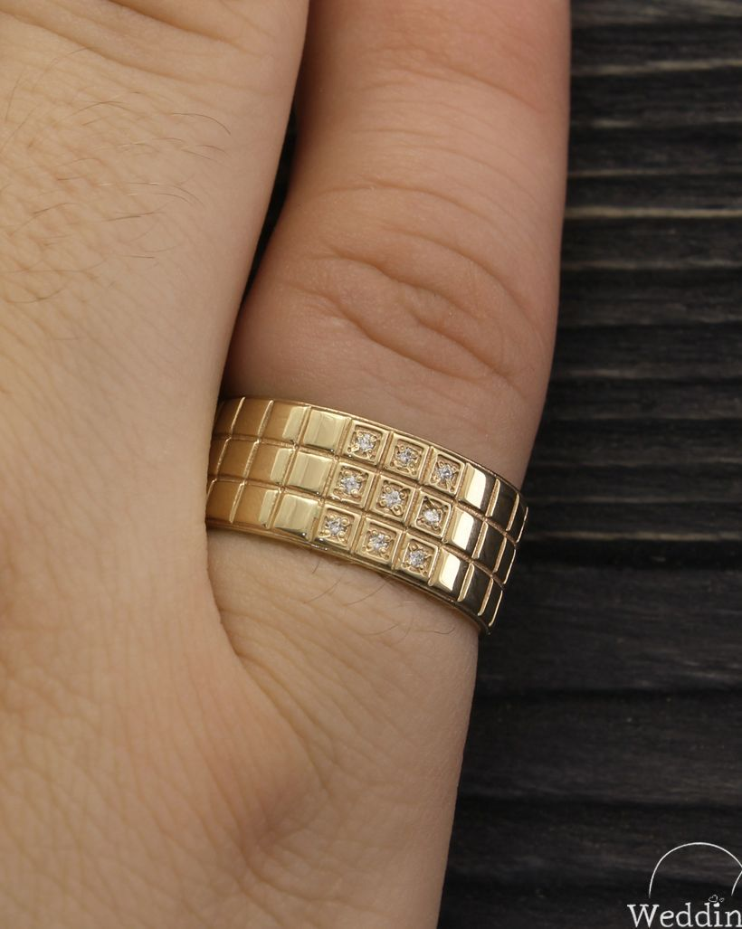 Unique Man S Large Wedding Ring With Diamonds Made In 14k Etsy Large Wedding Rings Mens Wedding Rings Gold Mens Wedding Rings