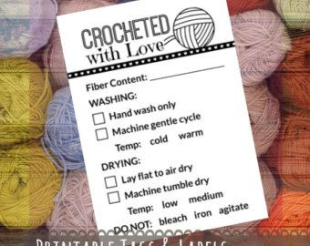 Printable Pdf Crochet Dishcloth Label Wrappers Crocheted By Hand