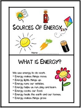 Sources of energy worksheets for grade 1