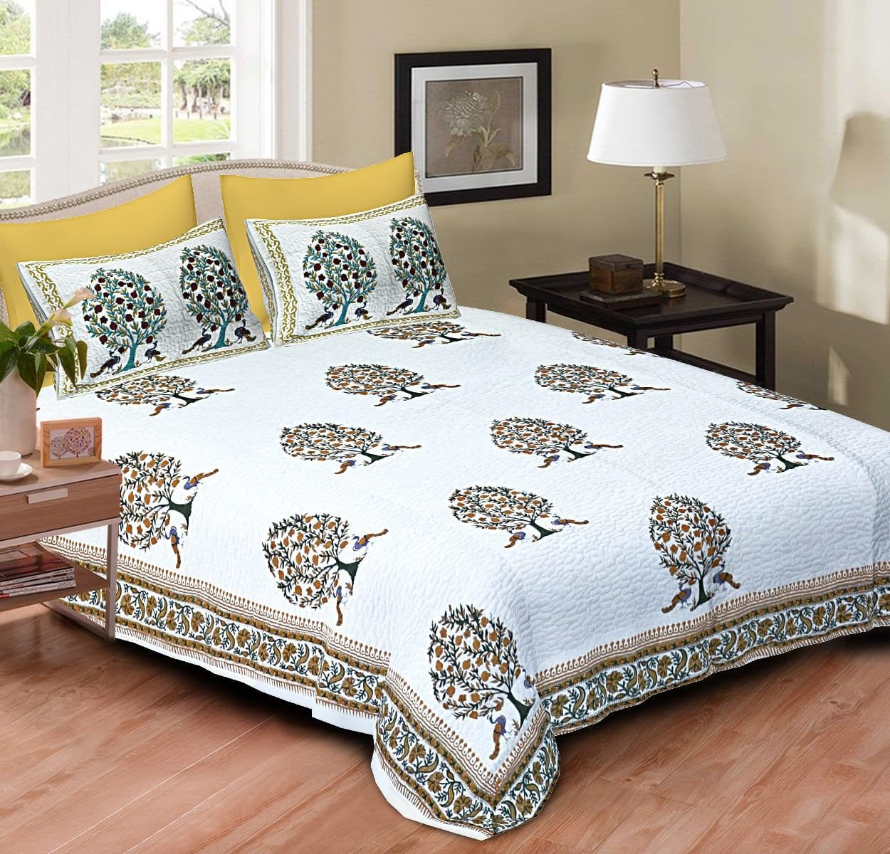 Indian Printed Bed Sheet Set Luxury Cotton Bedspread
