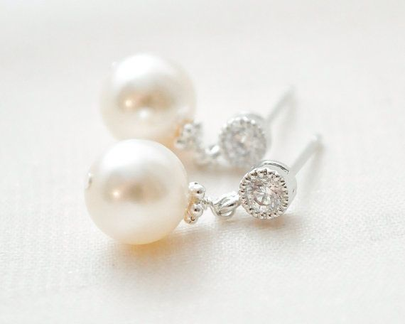 Small Pearl Earrings Drop Ivory By Sarahwalshbridal