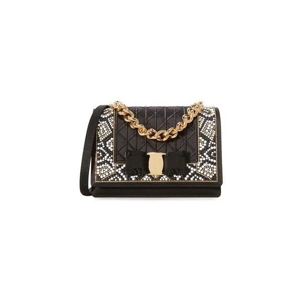 Salvatore Ferragamo Ginny Cross Body Bag (74.965 RUB) ❤ liked on Polyvore featuring bags, handbags, shoulder bags, raso nero, crossbody flap purse, embroidered purse, salvatore ferragamo crossbody, shoulder strap purses and embroidered handbags