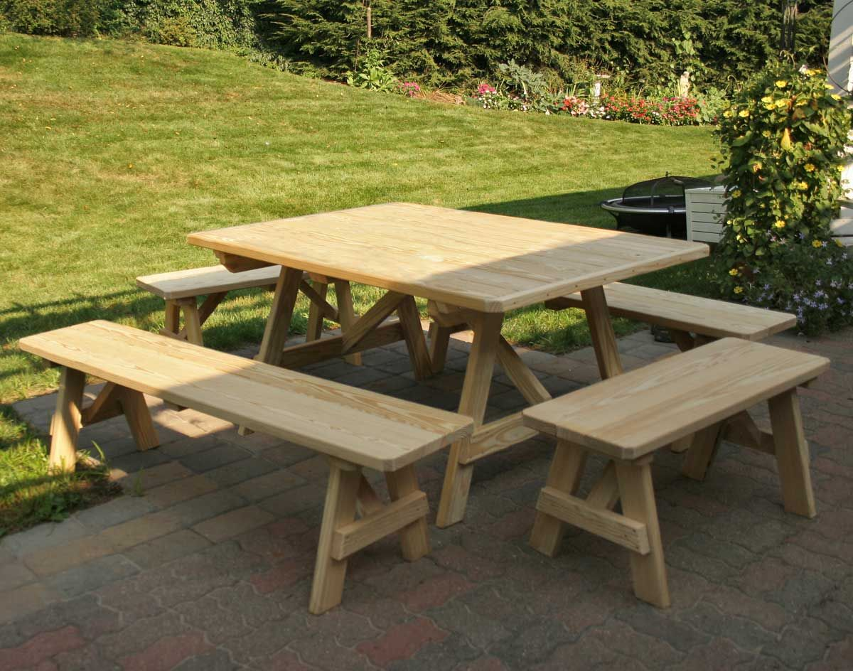 Treated Pine Wide Picnic Table W Traditional Benches 43 X 60 With Shown