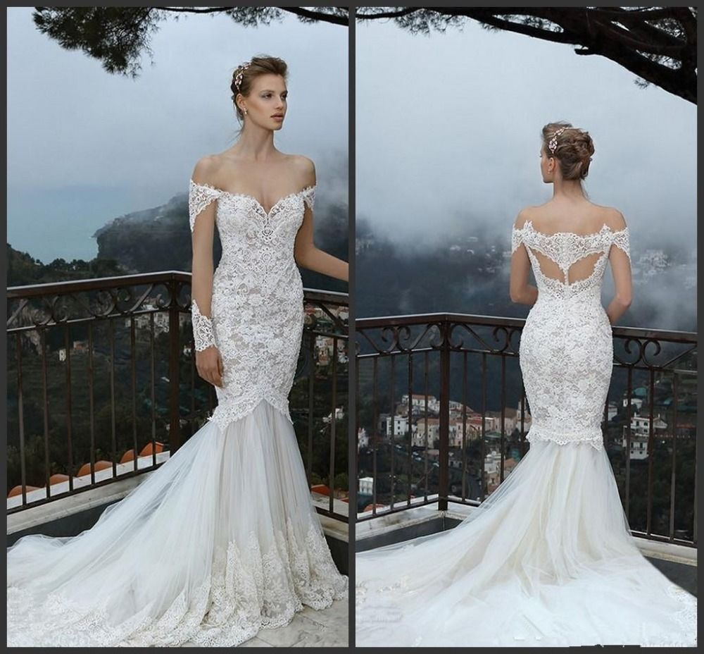 Off the shoulder lace mermaid wedding dress  Click to Buy ucuc White vestido de noiva Mermaidrumpet Lace Off the