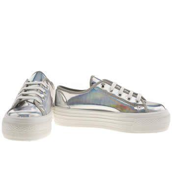 Women s Silver schuh Creep Platform Lo Metallic Flats  39b62f7bc