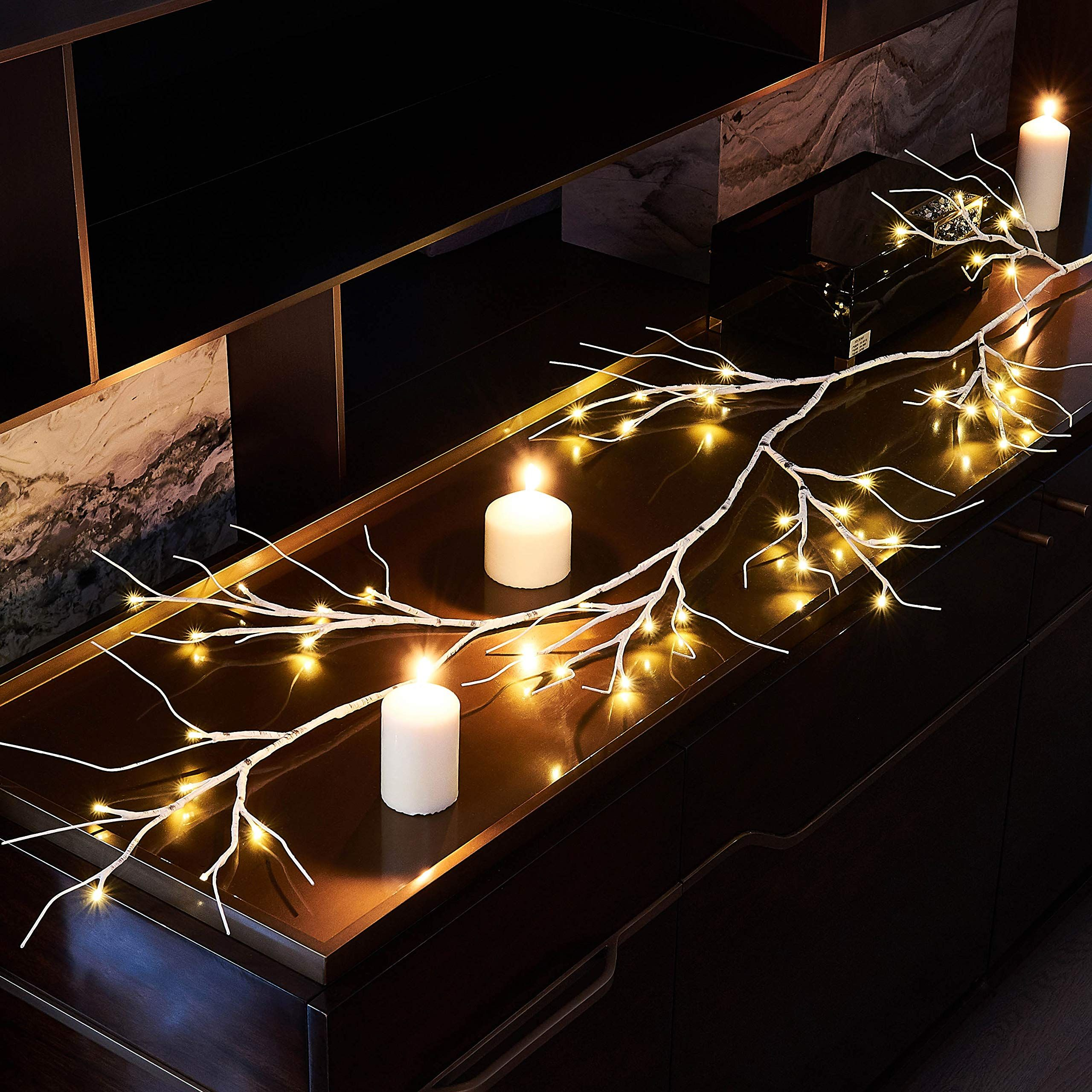 Hairui Winter Birch Garland with Lights 6FT 48 LED Battery