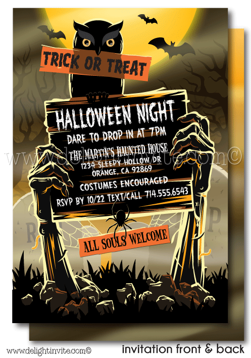 Adult Halloween Party Invitations Part - 43: Zombie Graveyard Adult Halloween Party Invitations, Printed Halloween  Invites, Scary Halloween Party Invitations