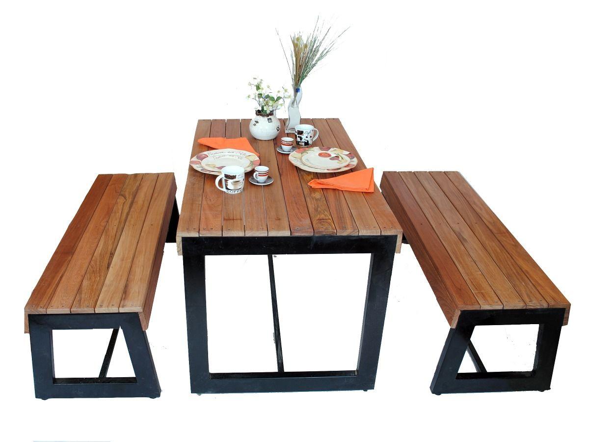 Mesa con 2 bancas para restaurantes cafeter as y bares for Muebles echeverria
