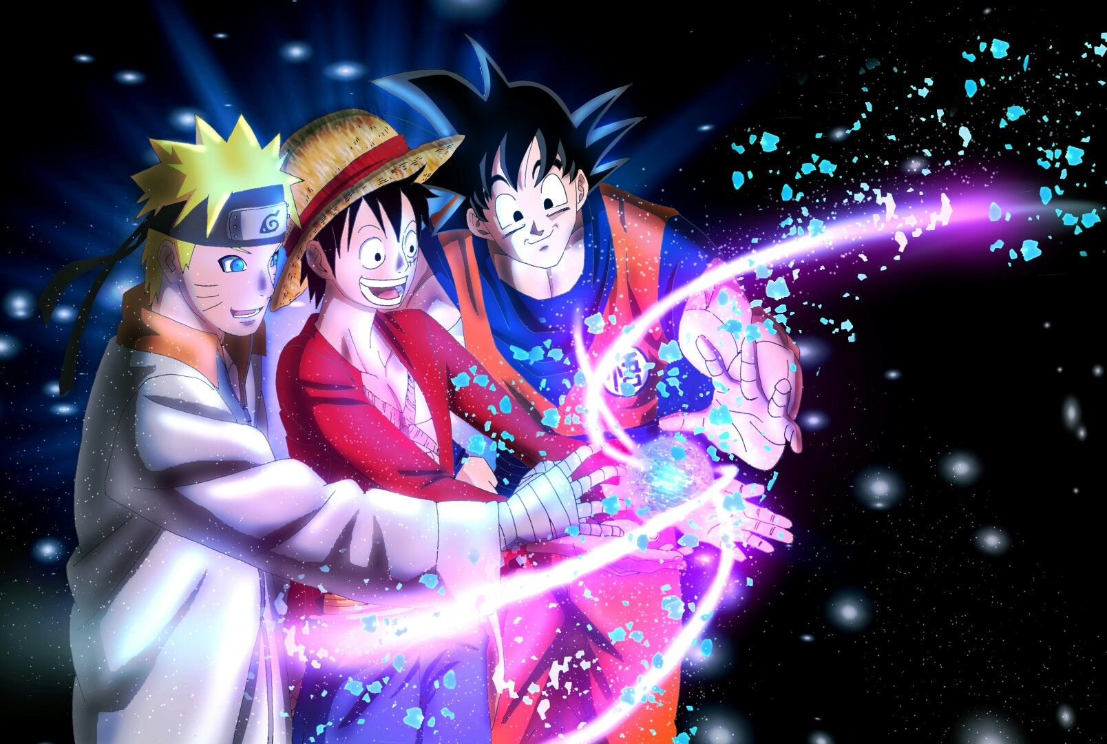 Goku Luffy And Naruto Anime Anime Crossover Manga Anime One Piece