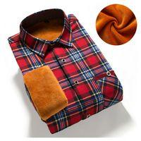 Men Winter Long Sleeve Shirt Warm Casual Vintage Corduroy Mens Formal Shirt