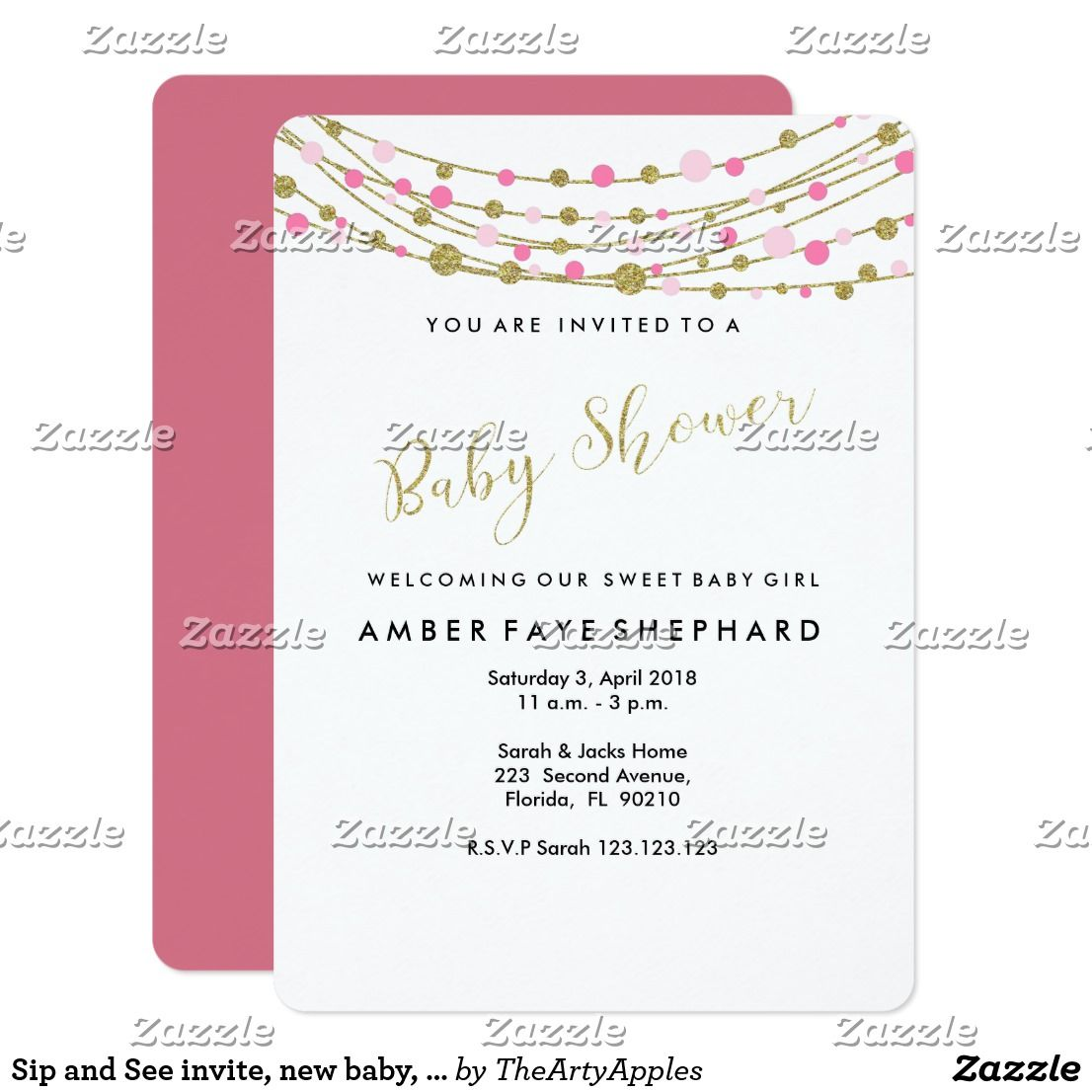 Sip and See invite, new baby, welcome party Card | Party invitations
