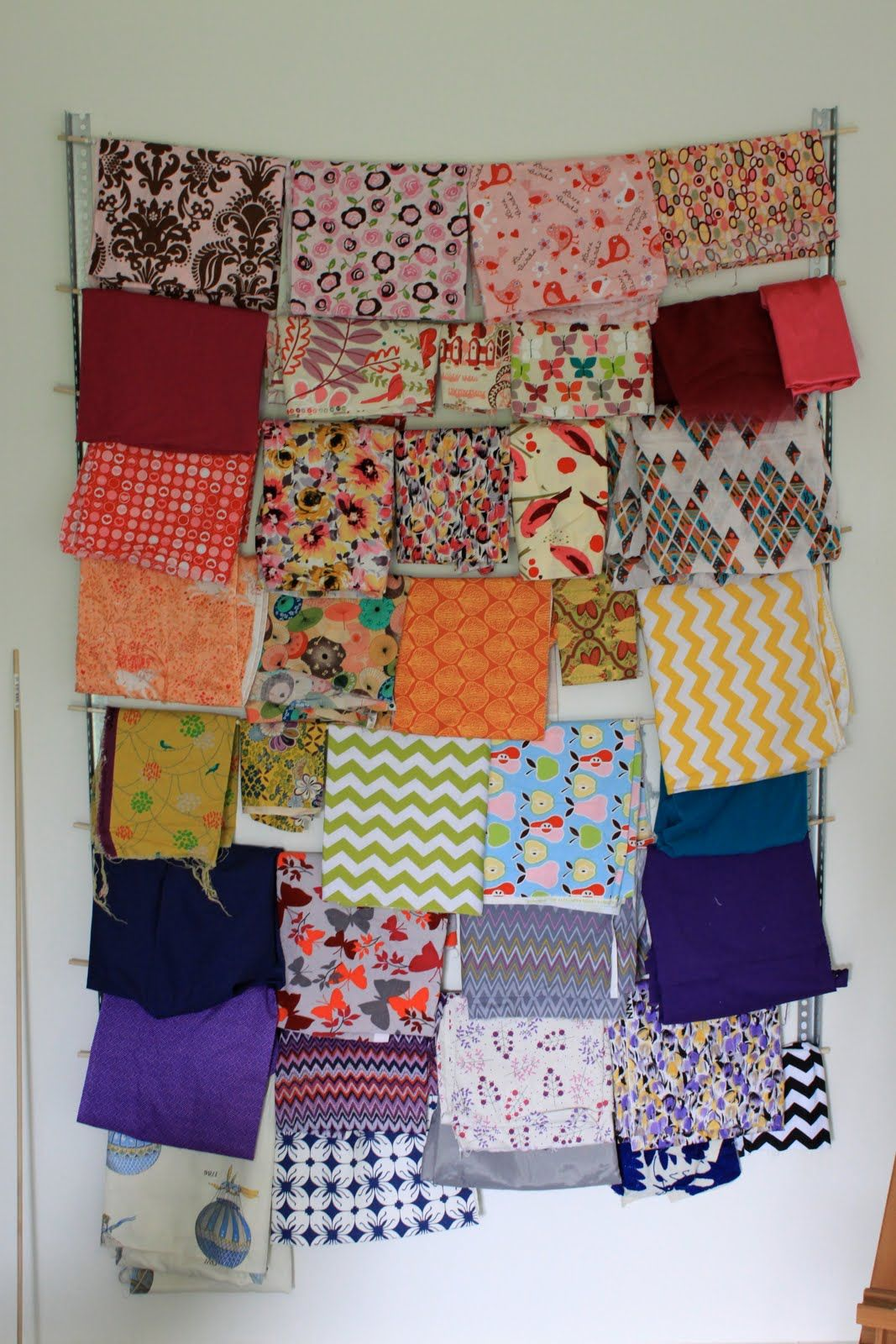 Uncategorized The Fabric Organizer craft room fabric organization corner angles and dowel rods for picking fabrics new