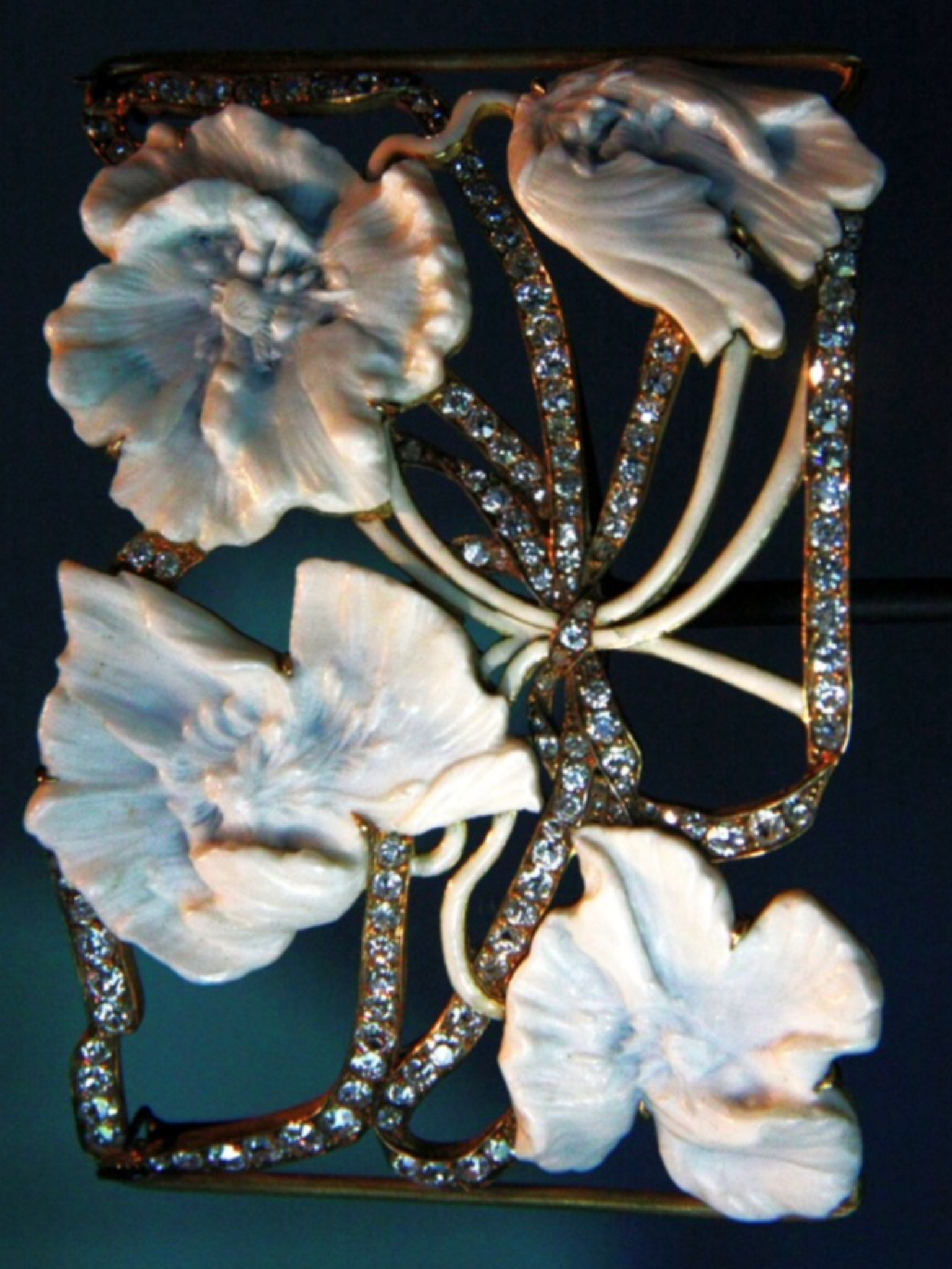 René Lalique 'Bunch of Anemones' aka 'Haw-thorne' Necklace Plate (1902-03): ivory/ enamel/ diamonds/ gold - private collection | Sokleine, flickr.com