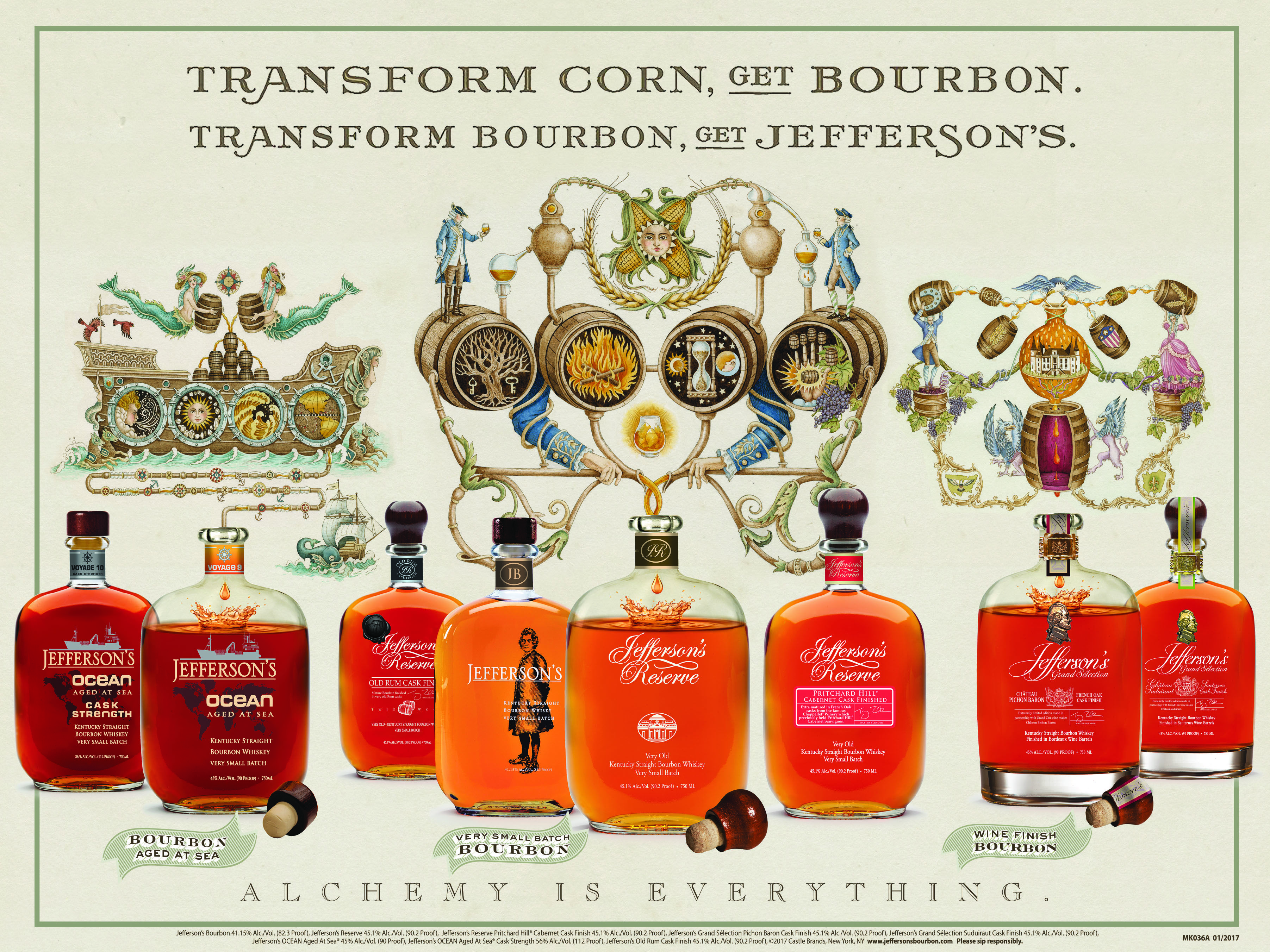A transformational experience: Transform corn, get bourbon. Transform bourbon, get Jefferson's. That's our approach to bourbon, in a nutshell. This piece is part of our new 'Alchemy Is Everything' ad campaign, which explains Jefferson's Bourbon in more detail. Insider tip: posters are available at the Kentucky Artisan Distillery. Much more to come on this. #AlchemyIsEverything #bourbon