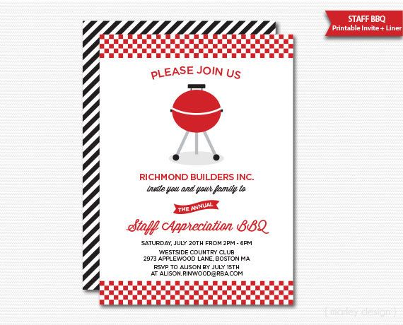 Company Staff Appreciation BBQ Invitation Printable Company BBQ
