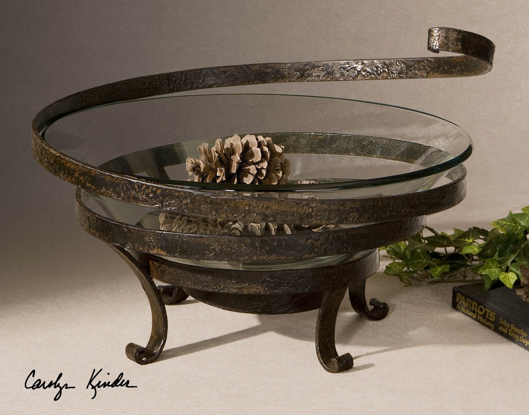 Uttermost Teneh Lattice Weave Design Bowl in Copper Bronze