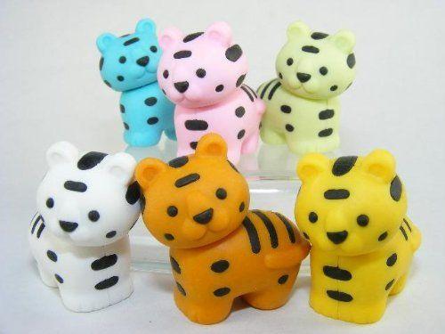 IWAKO Japanese Animal Puzzle Eraser Rubbers IWAKO Kawaii Tiger Erasers