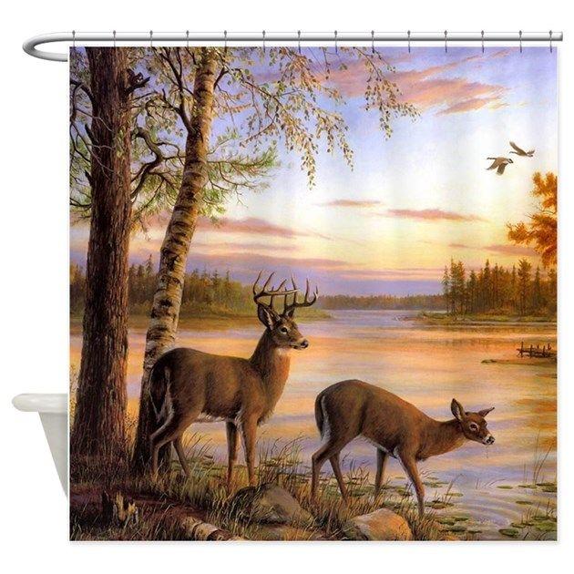 Deer Scene Shower Curtain By Riley Deer Painting Deer Wallpaper