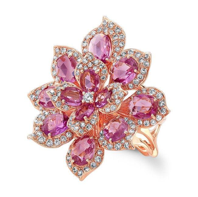 18KT Rose Gold Pink Sapphire Diamond Lotus Ring<br /> Pink Sapphire Flower Ring