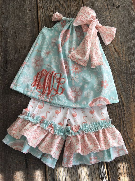 Ruffle Capris Outfit - Baby Girl Ruffle Outfit - Girls Ruffle Pants Outfit  Monogram and Bow Included 0 3m-7 8 697e624818