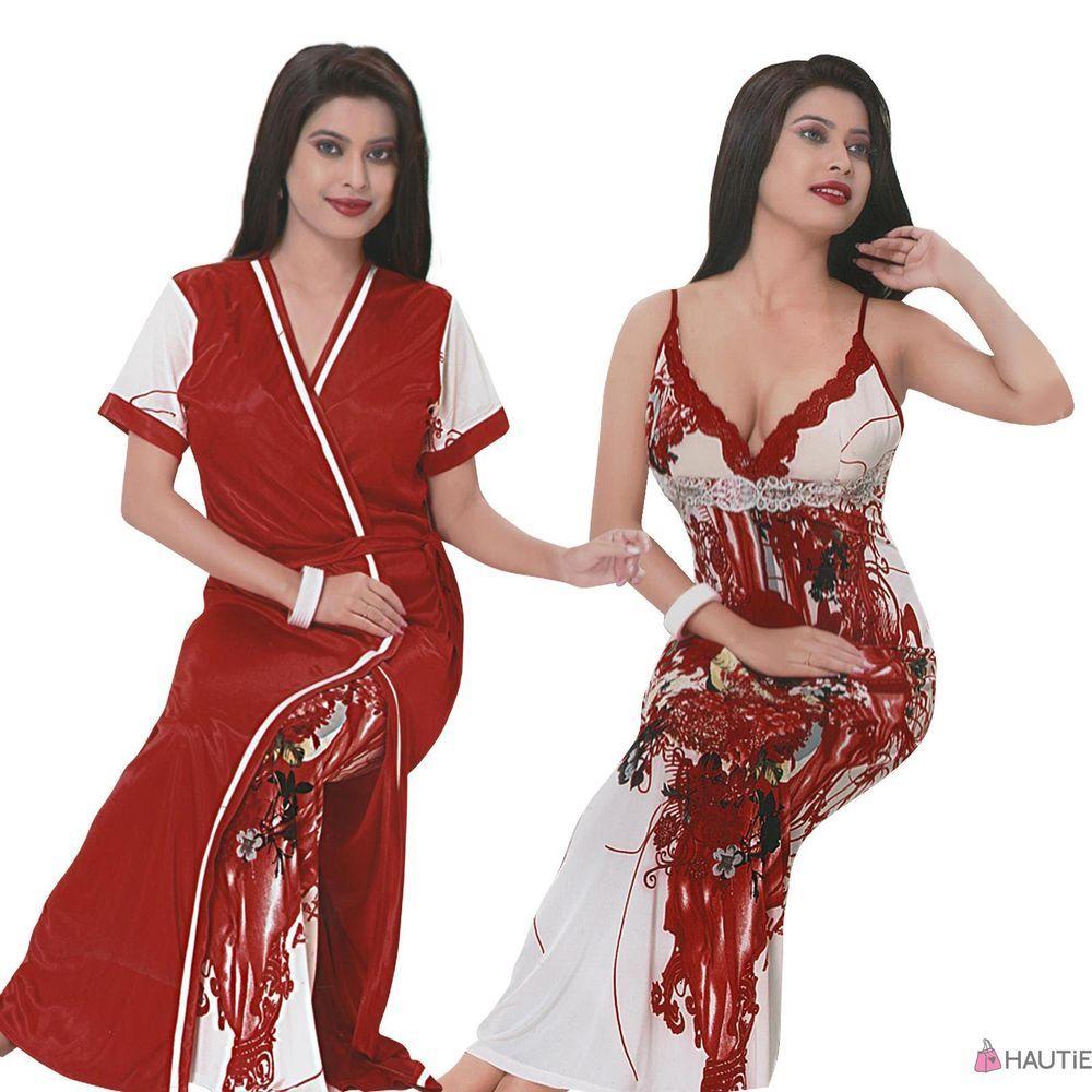 Lace dress nightwear  Exclusive designer ladies printed pc long nightie on clearance in