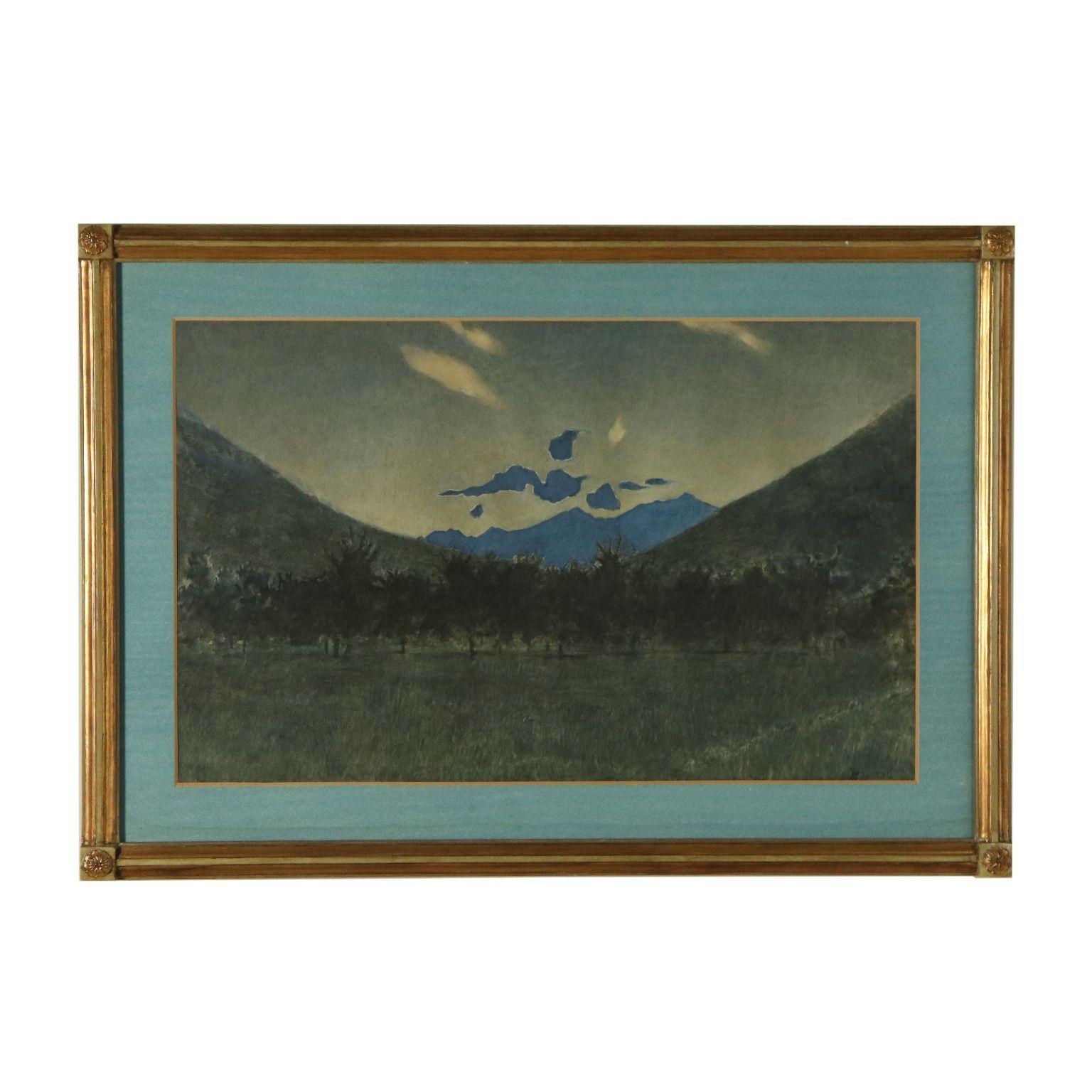 Landscape by Nightfall by Luigi Conconi Mixed Technique Late 1800s  #1800s #Conconi #Landscape #late #Luigi #Mixed #Nightfall #Technique