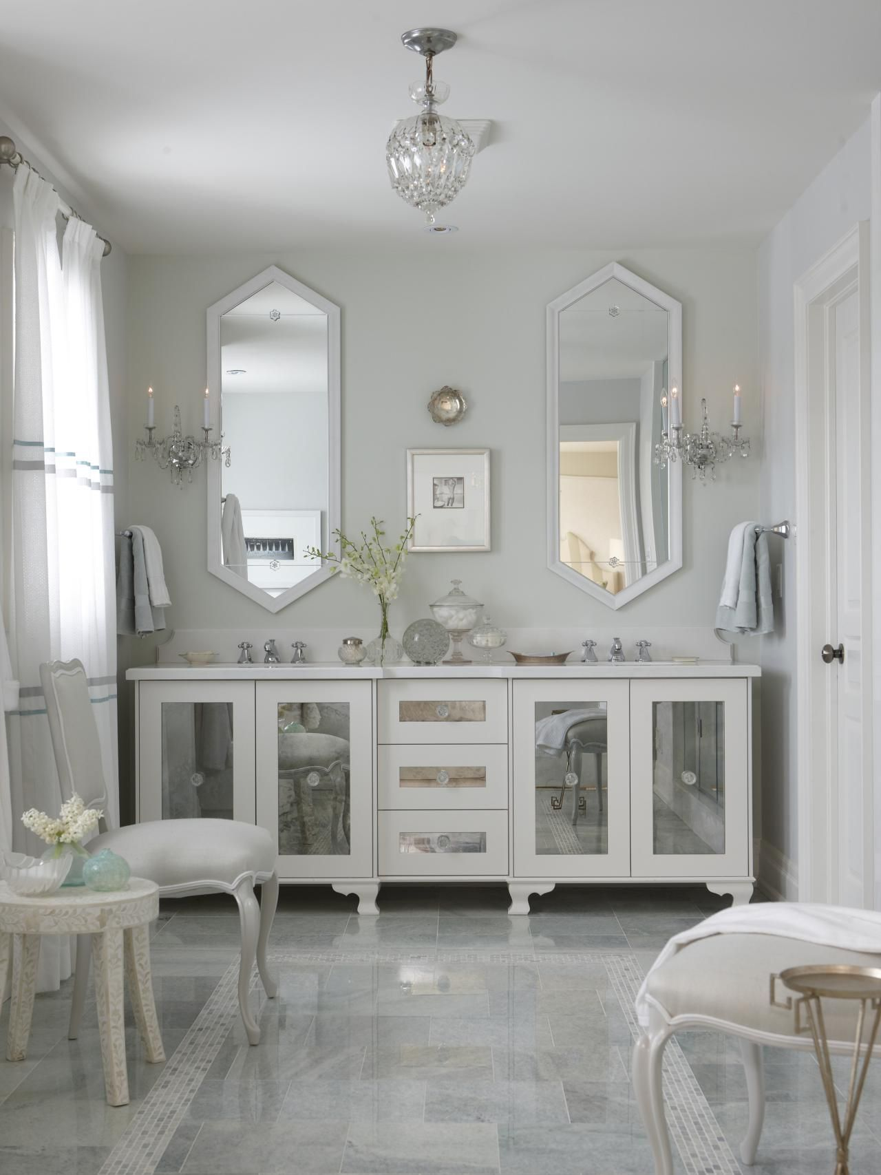 Enjoy A Relaxing Spa Escape With This Luxurious Master Bathroom. White  Marble Floors And An