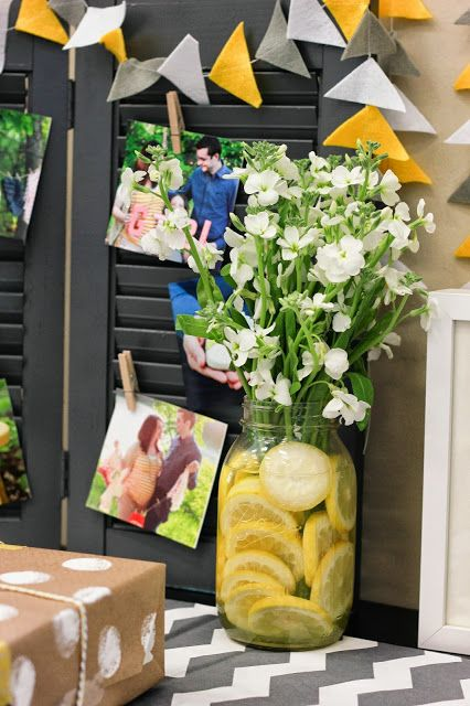 Baby Shower Decorations Gray And Yellow Baby Shower Lemon Vase